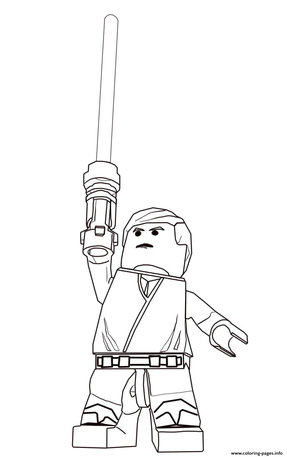 Print lego star wars luke skywalker coloring pages Lego