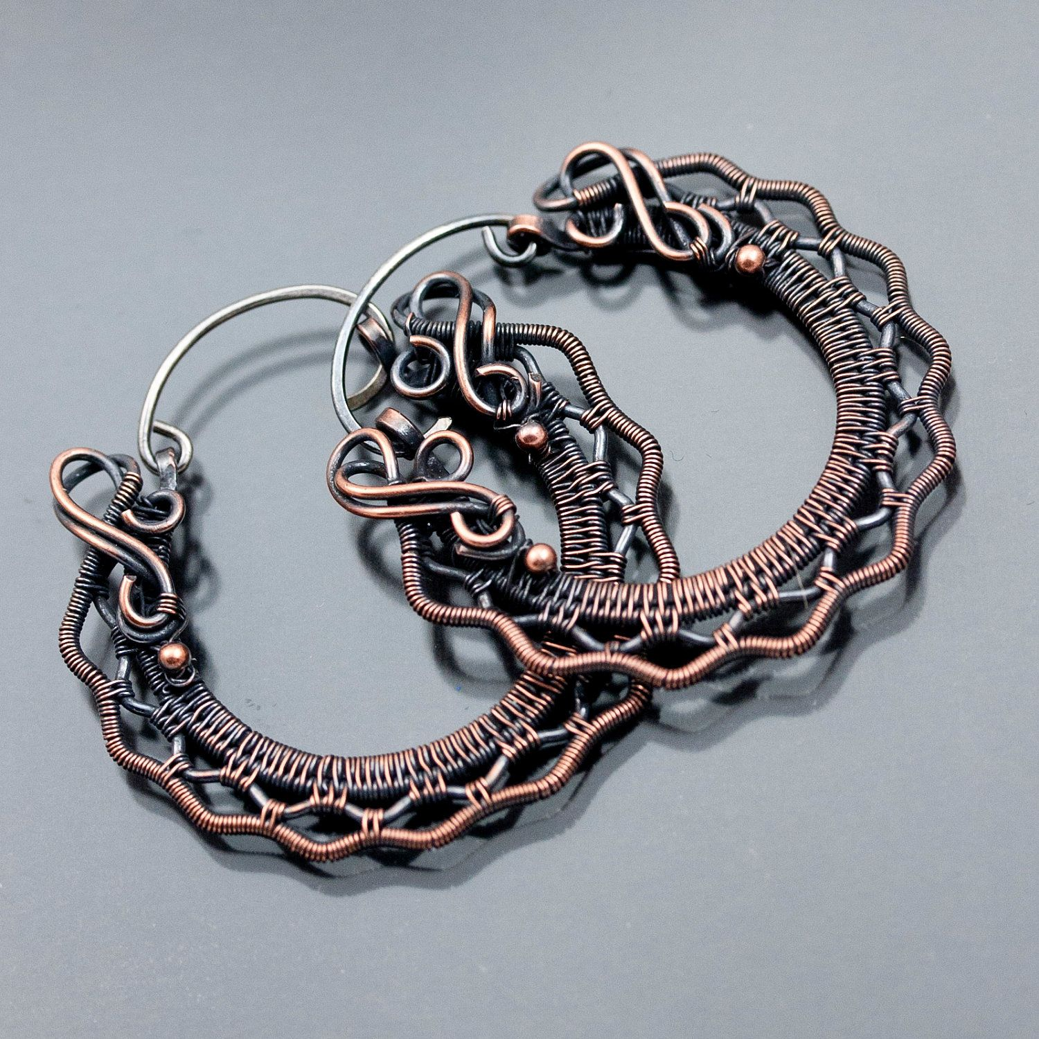 Earrings | Sarah Thompson.  Copper with sterling silver ear wires.