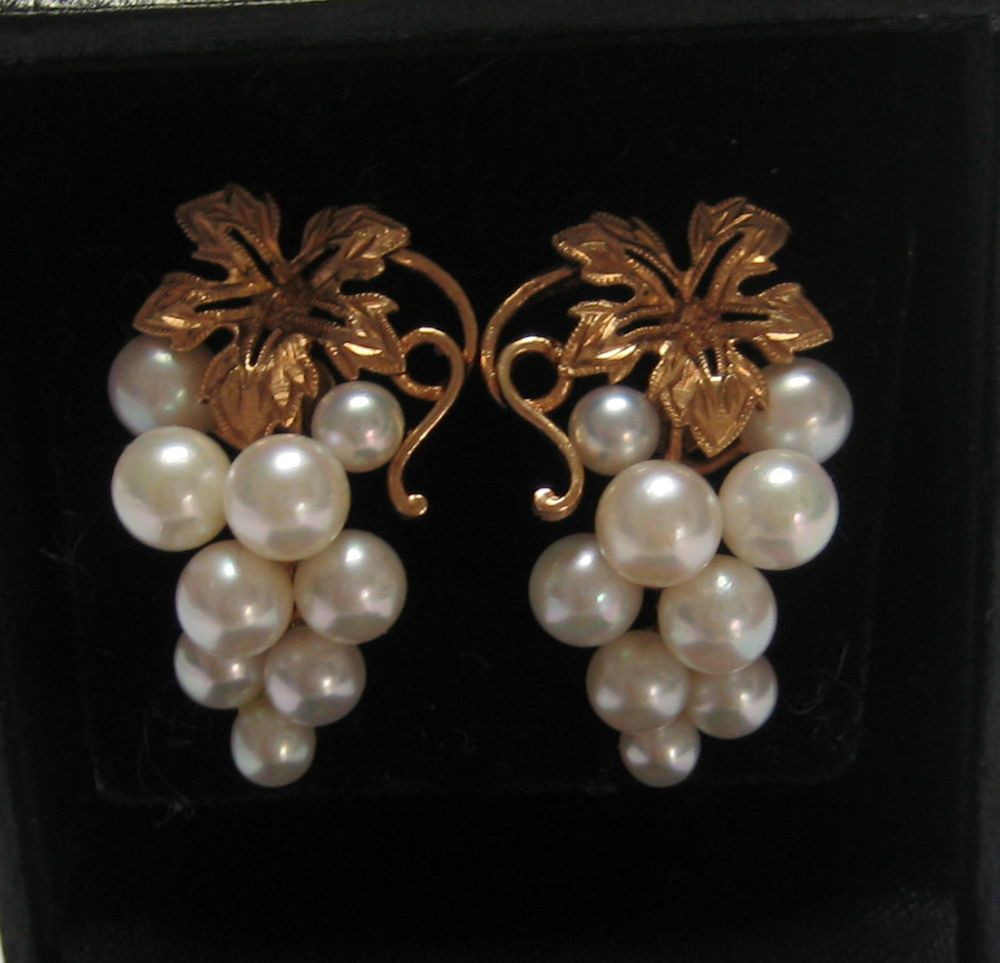 5f254a47e VINTAGE 14K YELLOW GOLD JAPANESE CULTURAL PEARL GRAPE CLUSTER EARRINGS  MIKIMOTO?