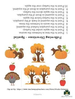 A worksheet/picture page with an autumn theme to address following directions containing spatial concepts. This single page can be laminated or placed in a page protector for use with speech therapy language groups or during individual sessions. This can also be used to obtain present level of performance or
