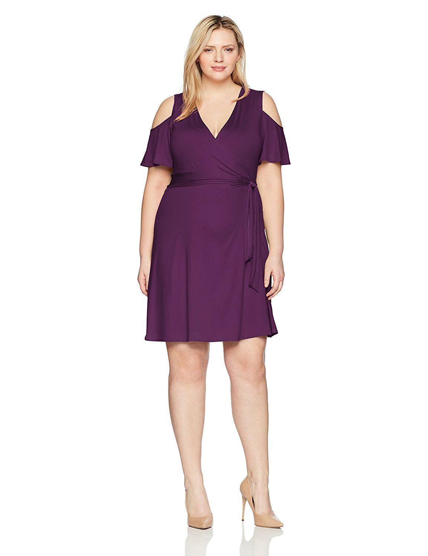 4d7dd3726d4 Star Vixen Women s Plus Size Cutout Cold Shoulder Short Sleeve Faux Wrap  Dress