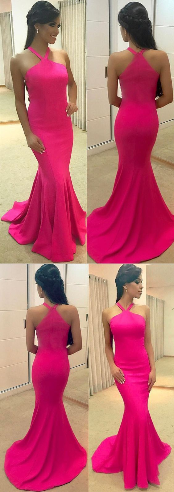 Rose pink long jersey mermaid prom dresses halter evening gowns