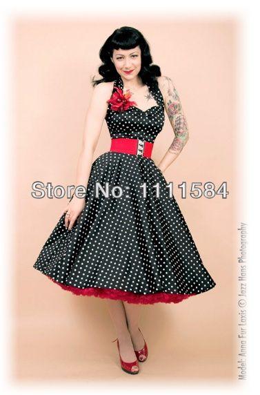 free shipping R1034 Rockabilly Polka Dot Swing Dress Black Red 50s ...