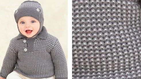 Stylish Knitted Baby Sweater And Helmet Free Knitting Pattern