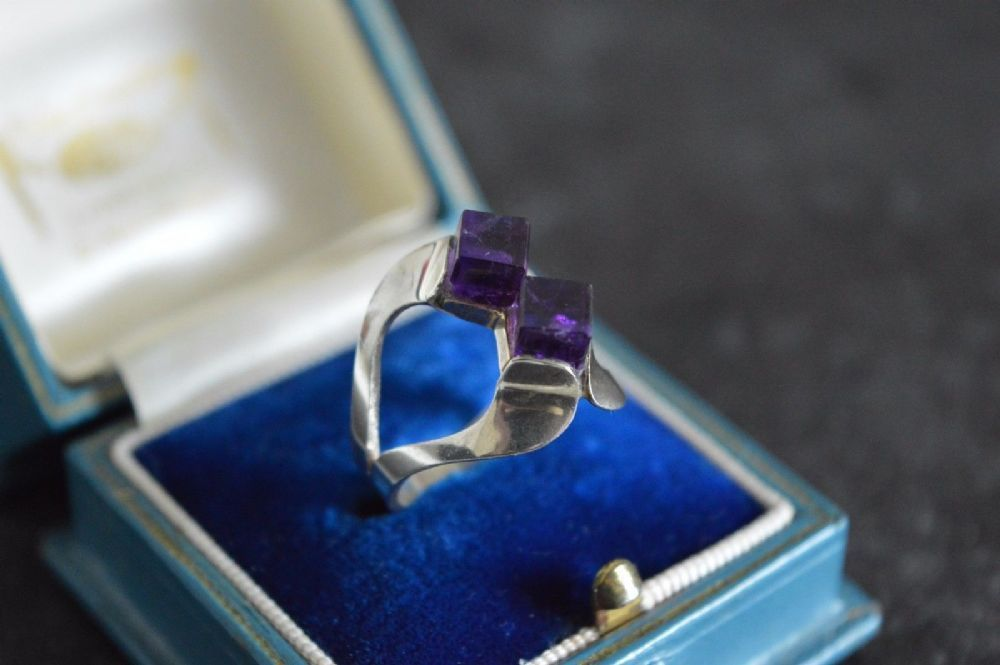 For sale a stunning vintage sterling silver Geometric Amethyst cube