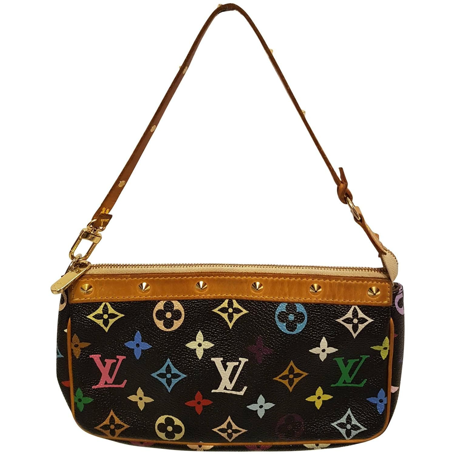 79df7a0f6d Louis Vuitton Black Multicolore Canvas Takashi Murakami Pochette Accessoires
