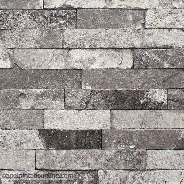Papel pintado new walls nws 1847 51 35 papel de imitaci n piedra en distintos tonos de grises for Papel pintado piedra gris