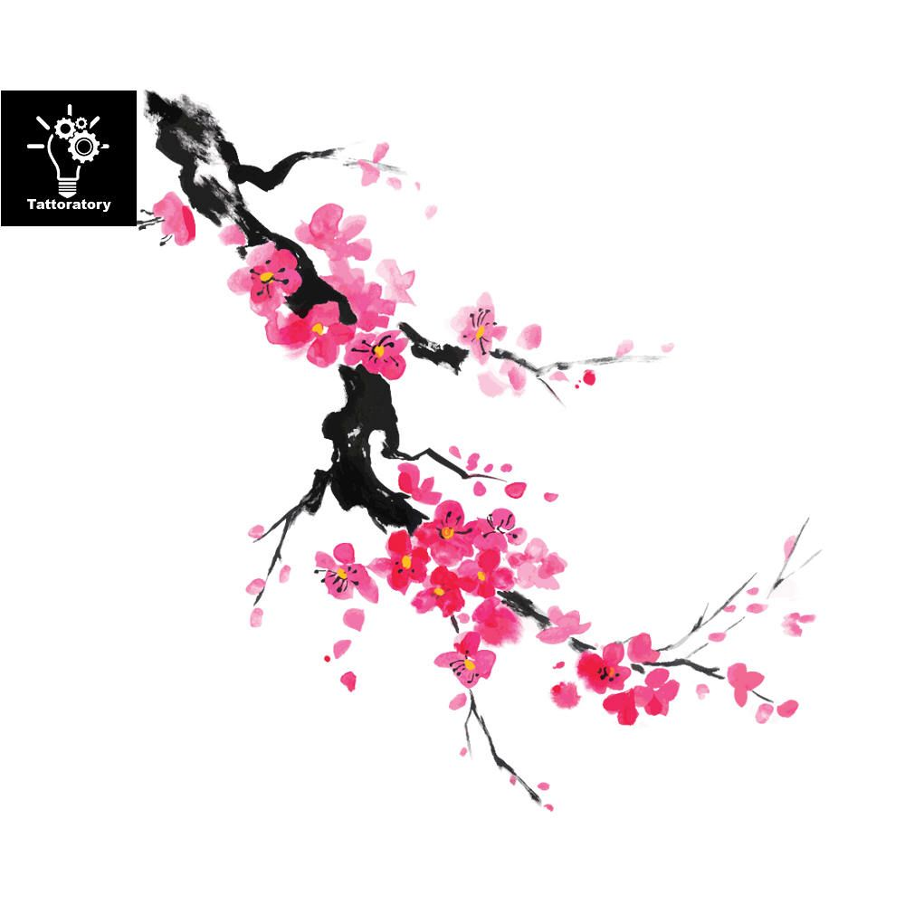 Cherry Blossom Tattoo Tatouage Aquarelle Sakura Tattoo Aquarelle