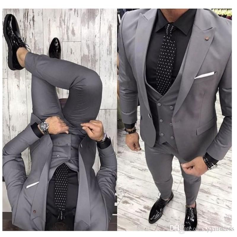 Gray Groom Tuxedos 2019 Groomsman Suit British Style Wedding Prom Suits For Men Bridegroom Suit(Jacket Pant Vest Tie) #men'ssuits
