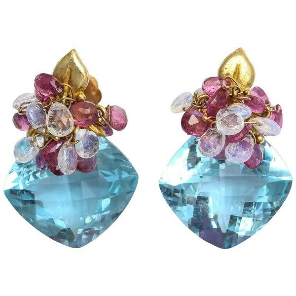 Pre-owned Blue Topaz Opal Pink Topaz Gold Leaf Earrings ($1,950) ❤ liked on Polyvore featuring jewelry, earrings, drop earrings, leaf earrings, gold leaf earrings, 18 karat gold earrings, gold earrings and gold butterfly earrings