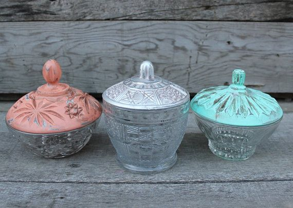 Trio of Vintage Candy Dishes  Upcycled door TheSpeckledEgg2011,