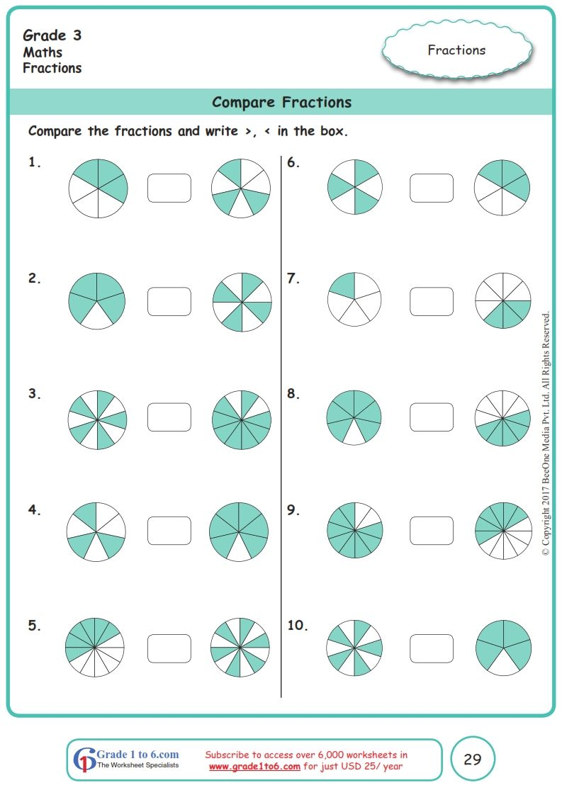 Grade 3 Class 3 Comparing Fractions Worksheets Fractions Worksheets Math Fractions Worksheets Fractions