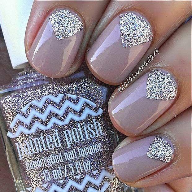 55 Super Easy Nail Designs Glitter Nail Designs Glitter Nails And