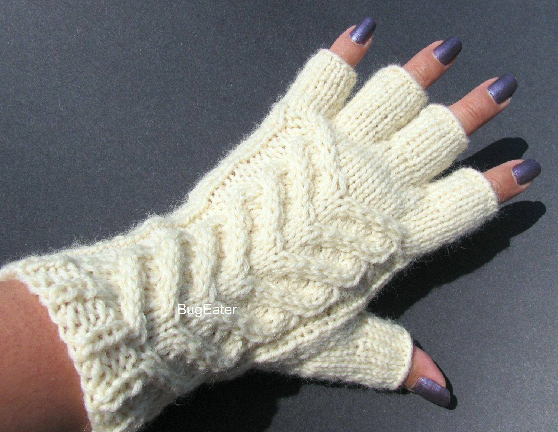 Men S Knitted Gloves Cable Knit Fingerless Gloves Ivory Texting Gloves 100 Wool Gloves Cable Knit Fingerless Gloves Fingerless Gloves Knitted Wool Gloves