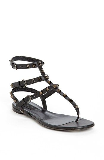 432aadf68622 Yes I am a Rockstar! Valentino  Noir Rockstud  Thong Sandal available at   Nordstrom