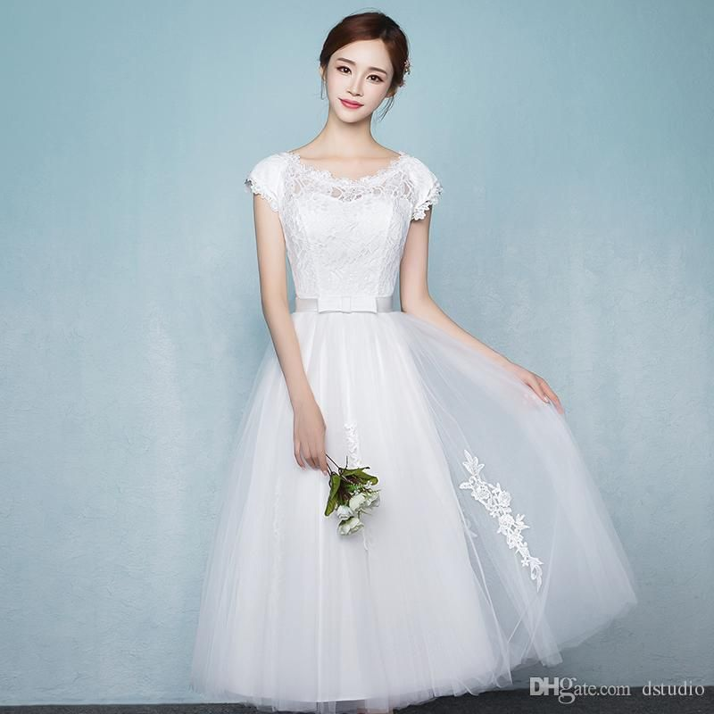 Off White Wedding Dresses Tea Length Lace Top Pleats Tulle with ...