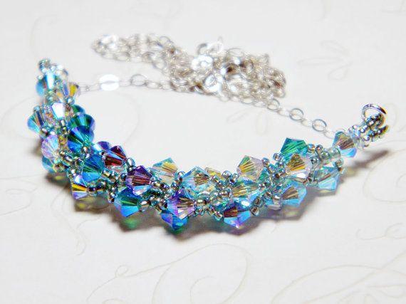 Mermaid Green Swarovski Crystal Necklace by WhimsyBeading on Etsy, $35.00