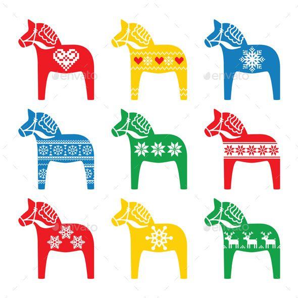 Swedish Dala Dalecarlian Horse With Winter Style Christmas Horses Scandinavian Folk Art Horse Illustration