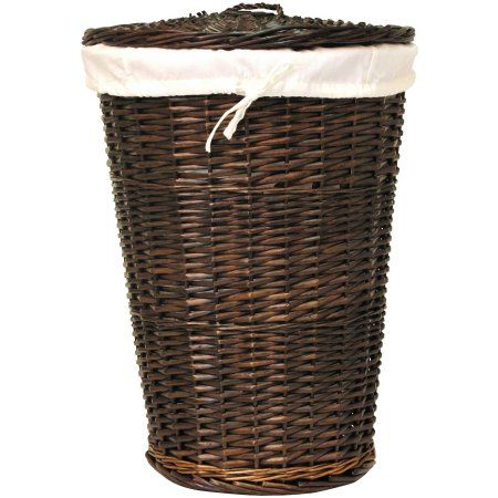 Round Willow Hamper With Matching Lid Walmart Com Wicker