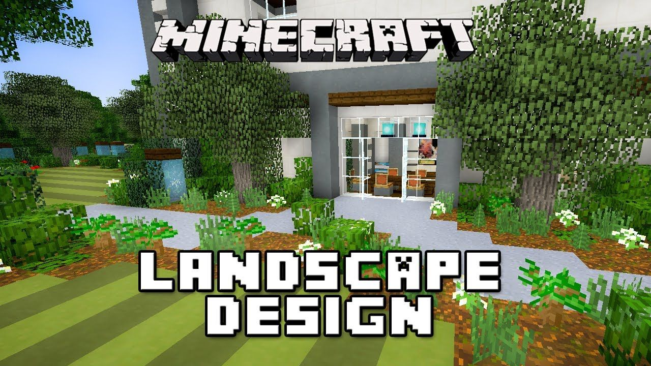 minecraft tutorial garden landscape design modern house build ep 25 - Minecraft Garden Designs