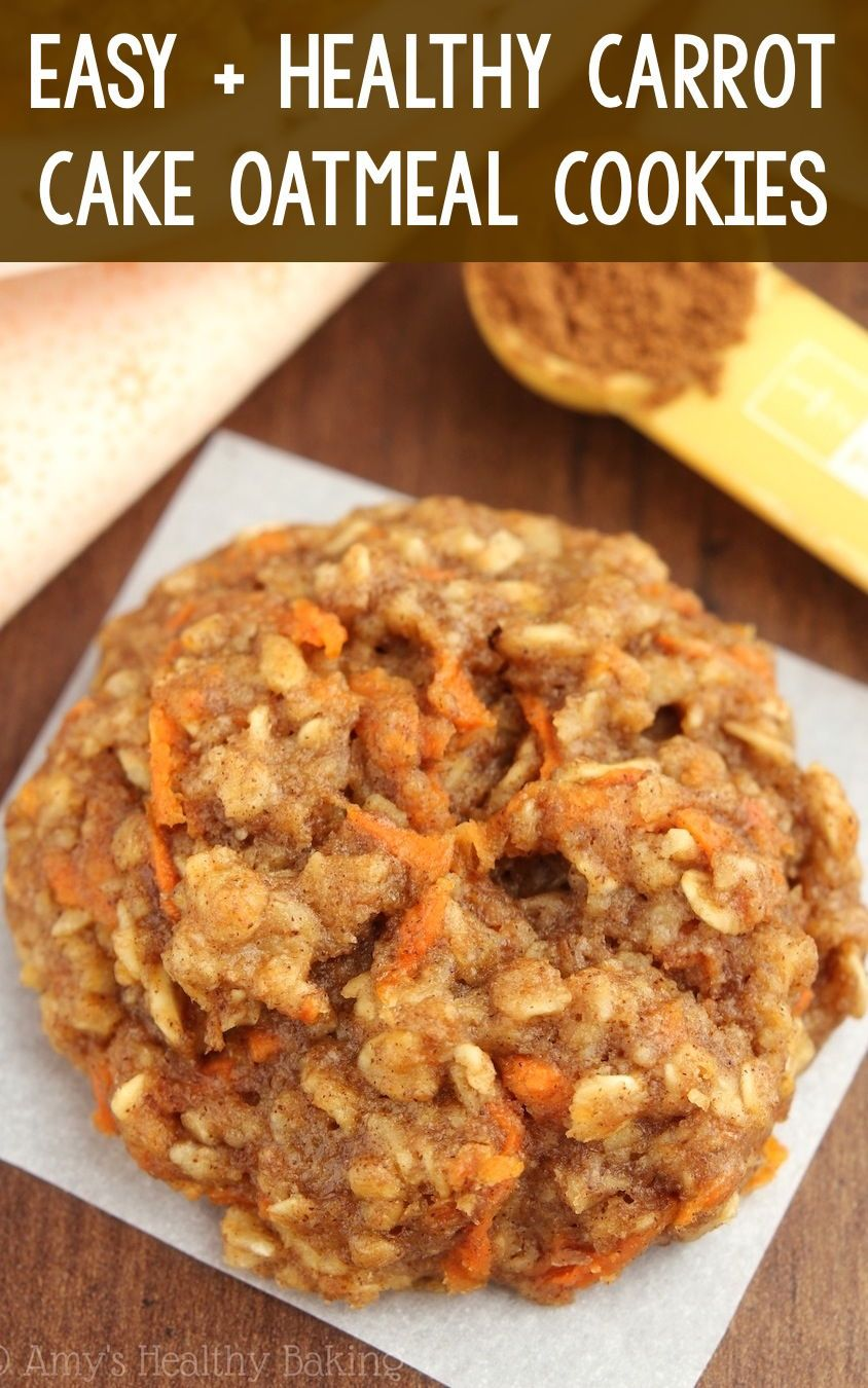 Healthy Carrot Cake Oatmeal Cookies – these skinny cookies don't taste healthy at all! You'll never need another oatmeal cookie recipe again! ♡ easy carrot oatmeal cookies recipe. soft chewy gluten free carrot cookies. simple carrot cookies for easter.