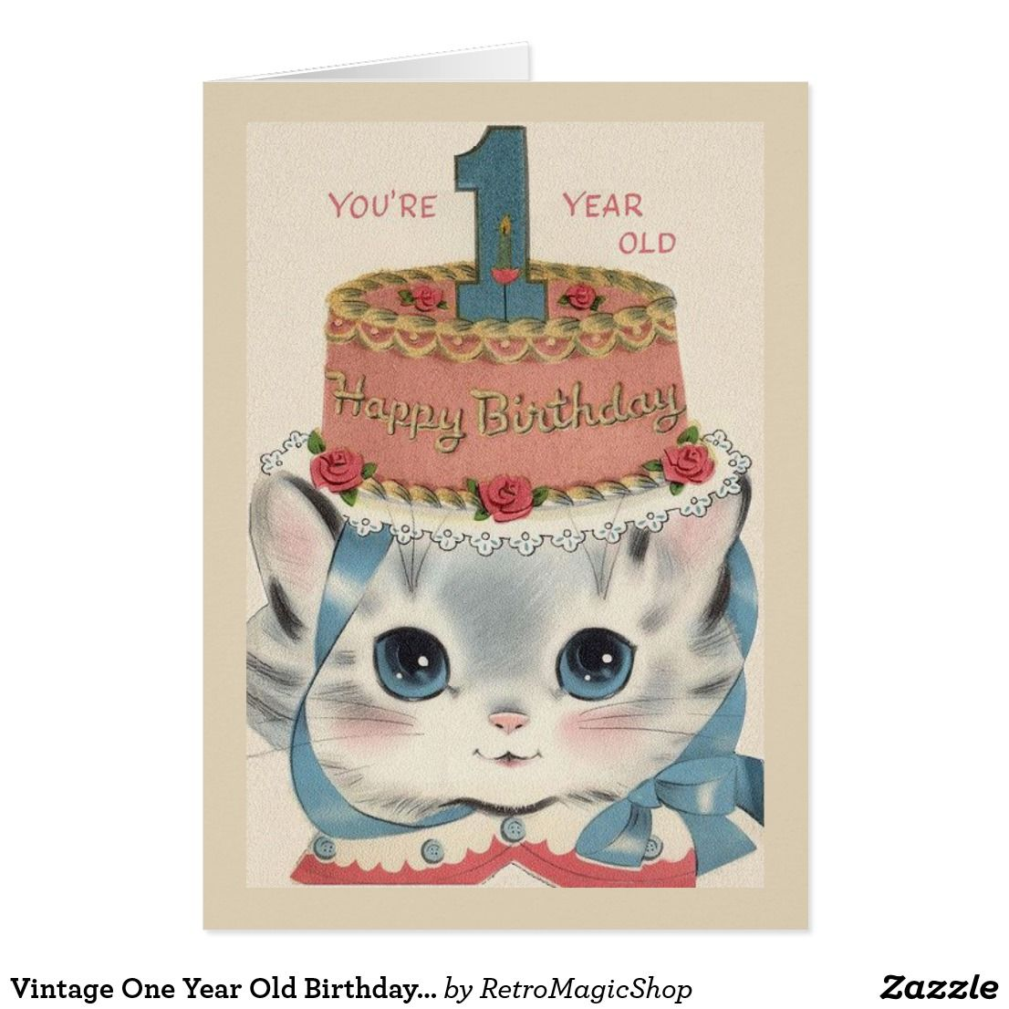 Vintage one year old birthday greeting card vintage birthday vintage one year old birthday greeting card kristyandbryce Choice Image