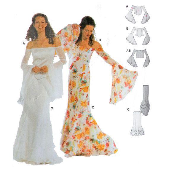 Boho Wedding Dress Size 18 : Woman s boho wedding dress sewing pattern bell sleeves