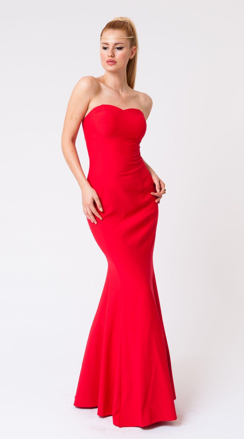 58fd35ee820c3 Straplez Düz Balık Elbise | Kırmızı | Uzun Elbise | abiyenial ...