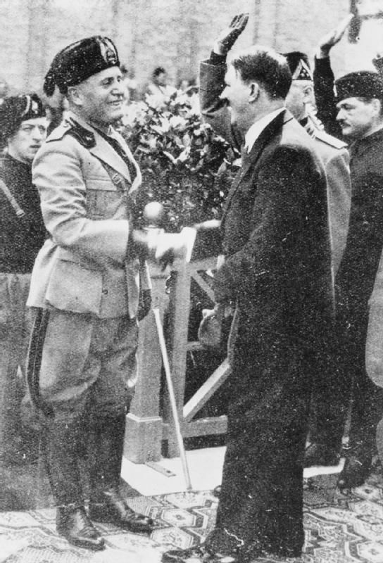 Mussolini and Hitler pictured together during their first meeting in Venice.