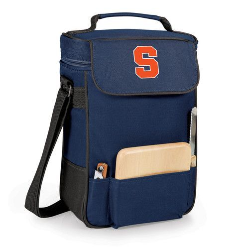 Duet Wine and Cheese Tote - Navy (Syracuse University - Orange) Embroidered
