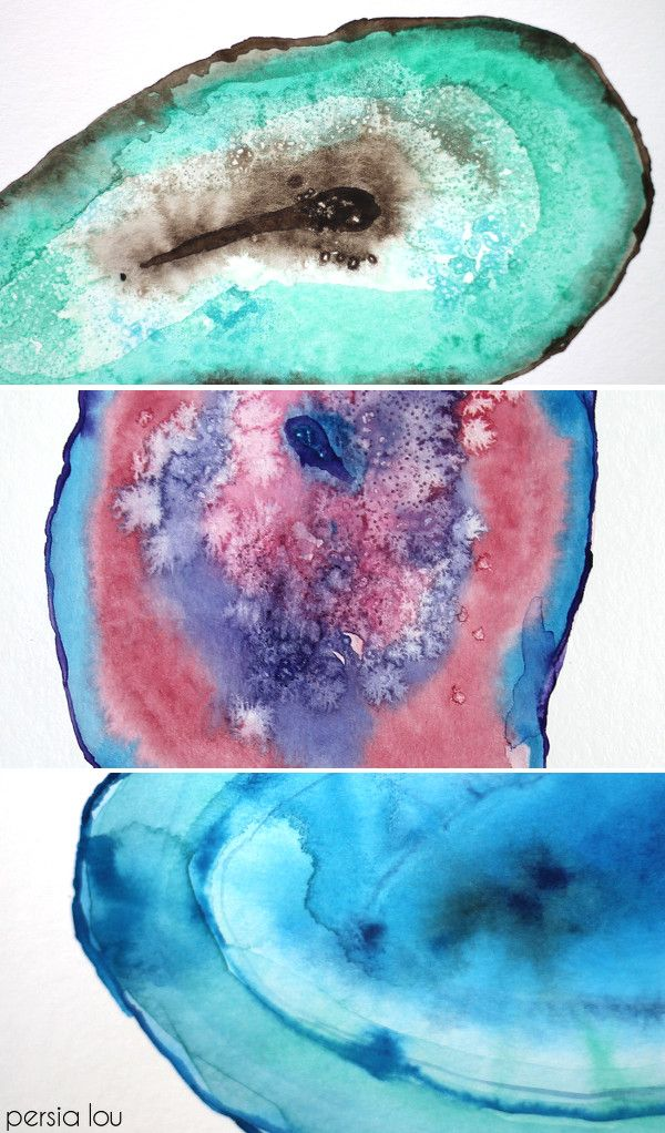 050735be83b6 How to Paint Watercolor Agate Slices. This is one of the best tutorials I  have seen on how to do this