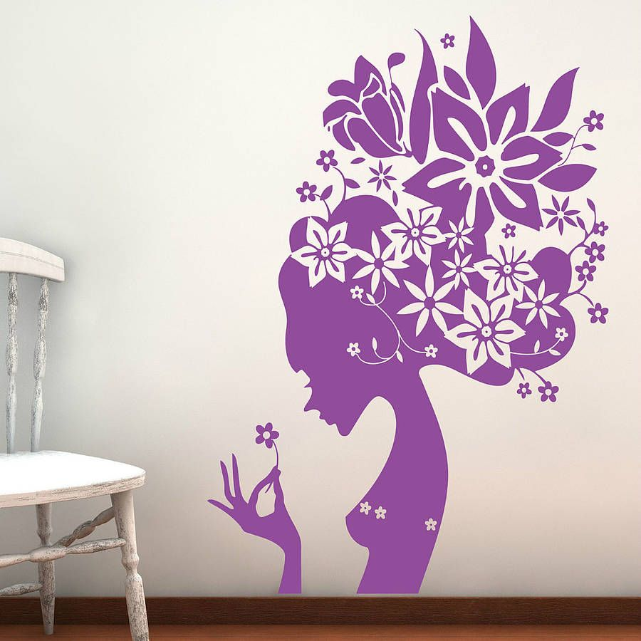 Bedroom Wall Tiles Lavender Colour Bedroom Art For The Bedroom Ceiling Lights For Girl Bedroom: Flower Girl Wall Stickers Parkins Interiors