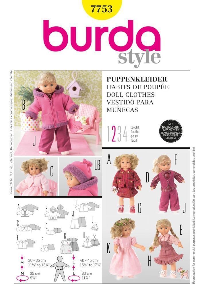 Details zu Burda Nähmuster wunderschön Puppe Outfits zu Mix and ...