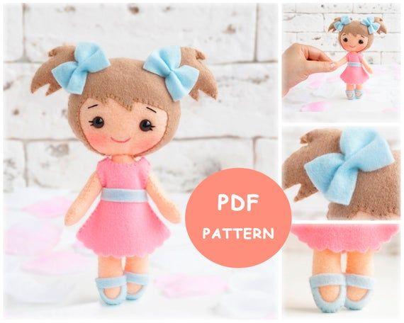 felt doll patterns, pocket dolls, felt pattern, pdf pattern, sewing patterns, stuffed doll, handmade doll patterns, felt craft ideas #instructionstodollpatterns