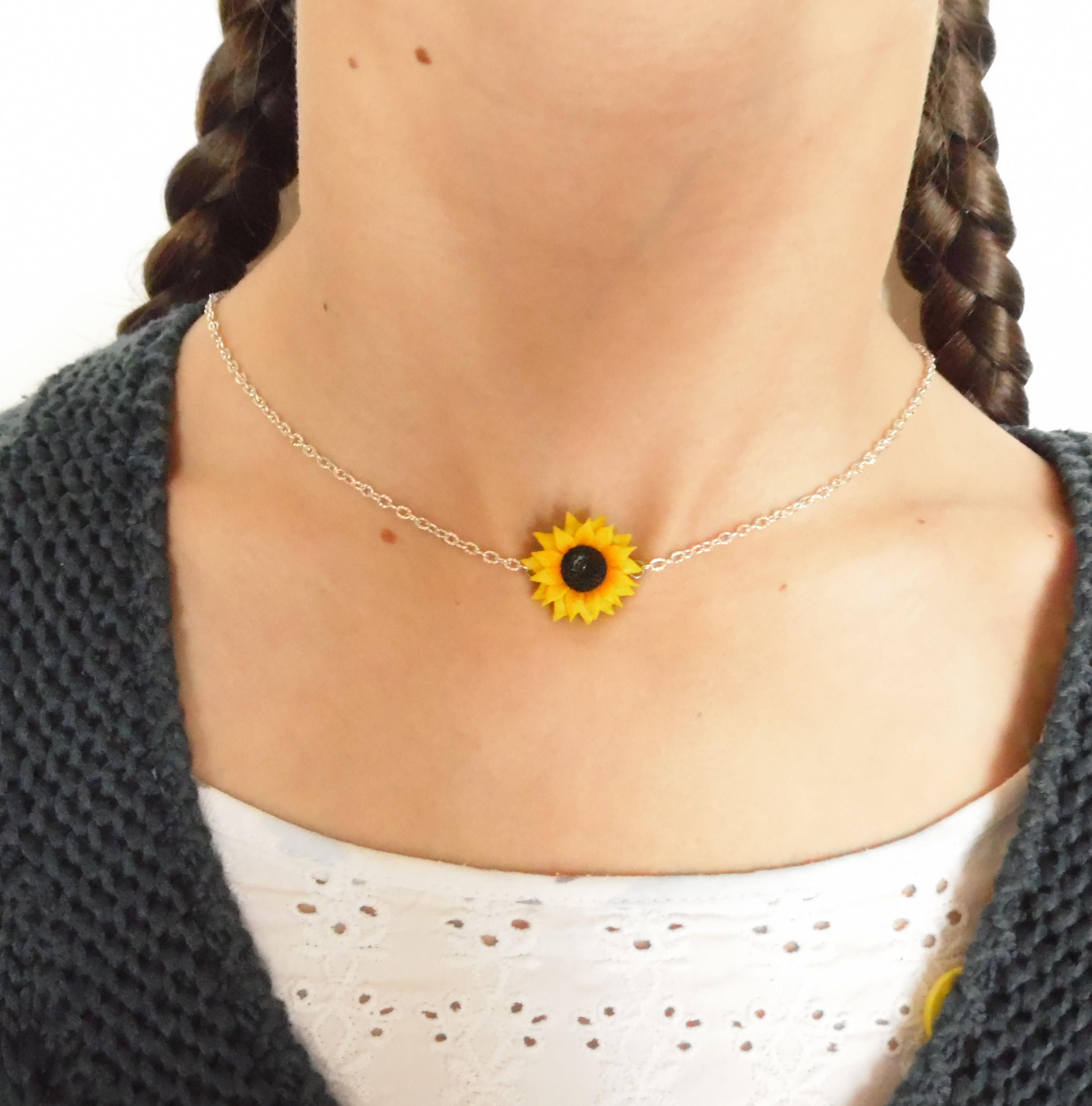 Sunflower choker sunflower necklace sunflower pendant polymer clay sunflower choker sunflower necklace sunflower pendant polymer clay jewelry wedding jewellery sunflower jewelry gift for her bridesmaid jewel aloadofball Image collections