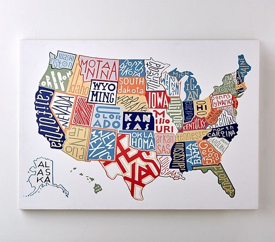 USA Map Canvas Art in 2018 | Sebastians room inspo | Pinterest | Map ...
