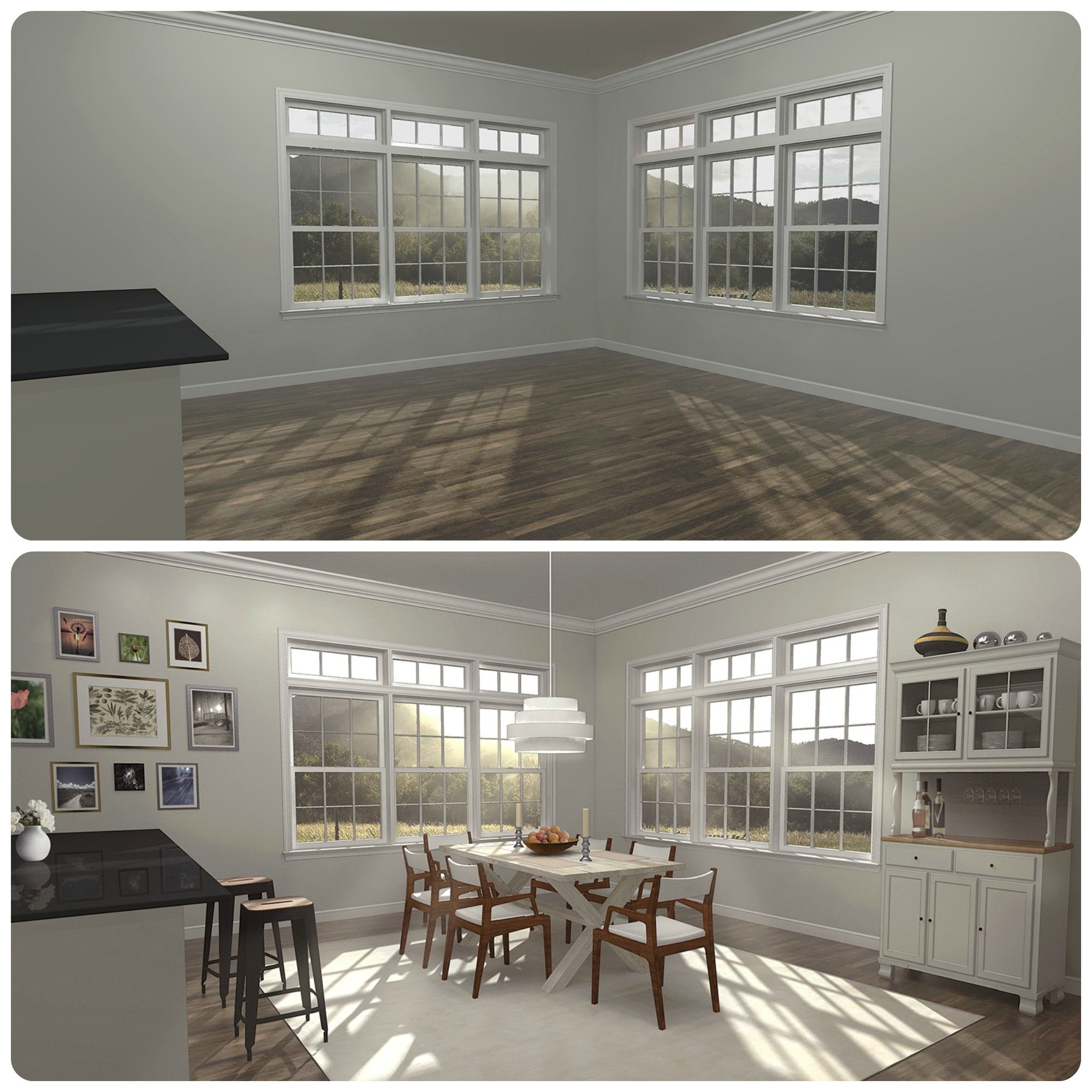 Home Staging Dining Room Table: Virtual Staging Transformation Of A Dining Room. Virtual