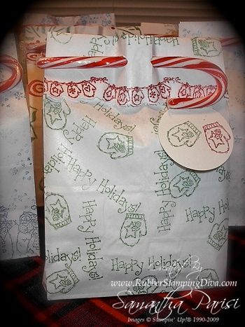 "Cute way to ""seal"" a bagged gift- Use a candy cane."