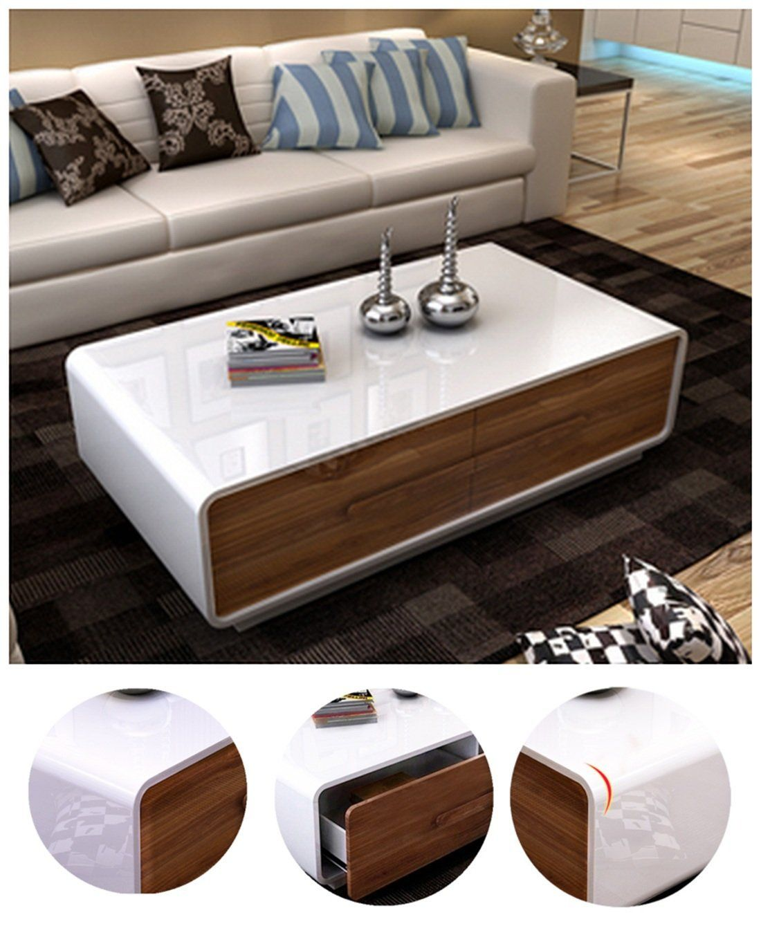Ospi White Gloss Coffee Table Low With 4 Storage Drawers