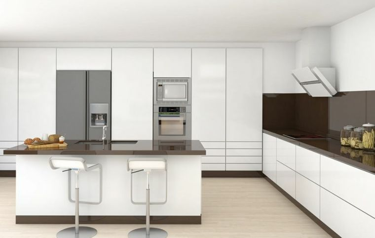Cucina moderna bianca laccata con top e paraschizzi nero isola con