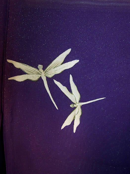 Japanese Geisha Sheer Silk Screen Dragonfly Plum Kimono Close Up View