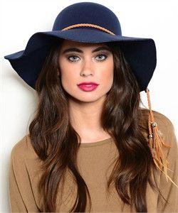 5b08f394975 Navy Floppy Hat Camel Tassel