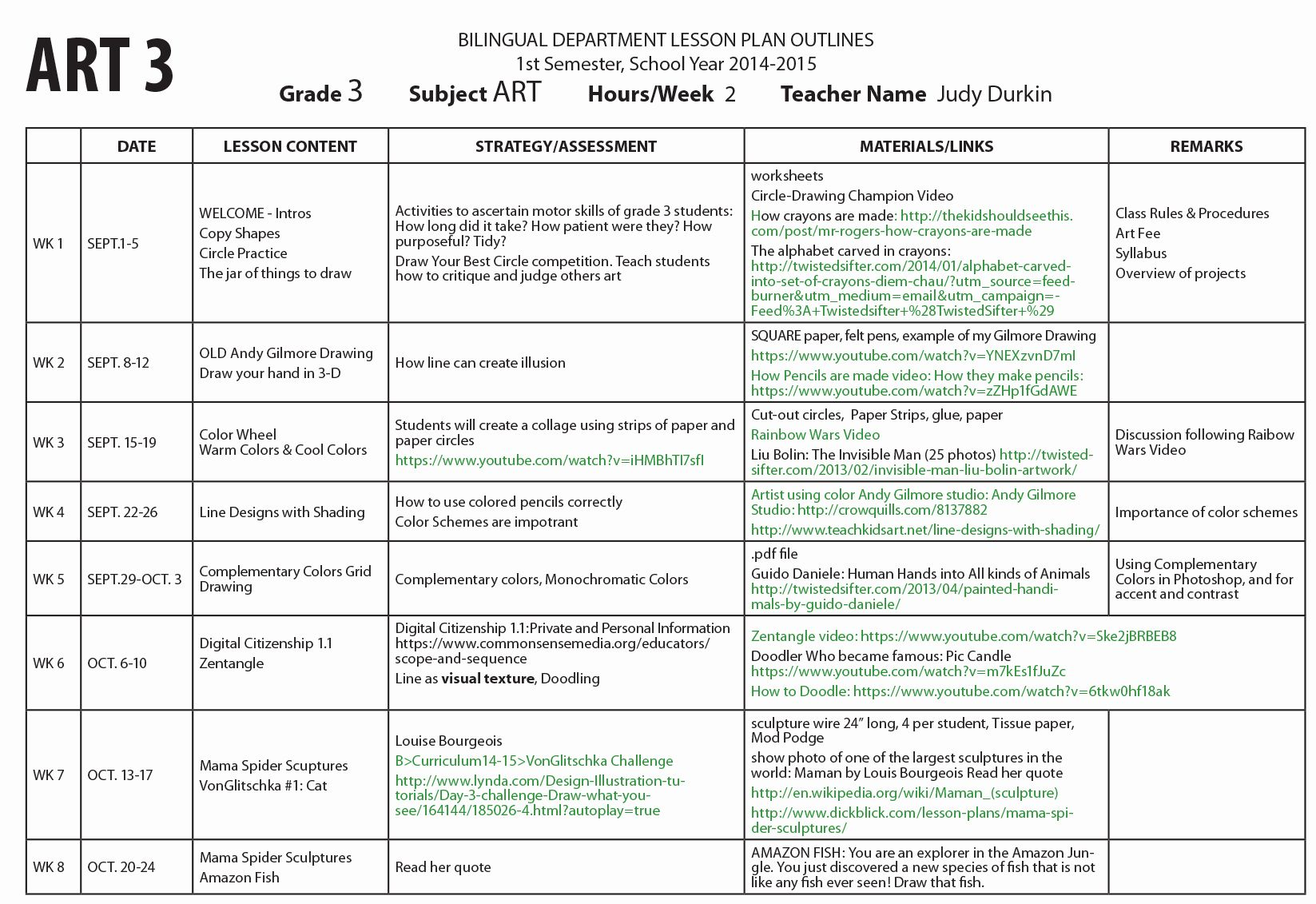 Art Lesson Plan Template Awesome Art Lesson Plan Template