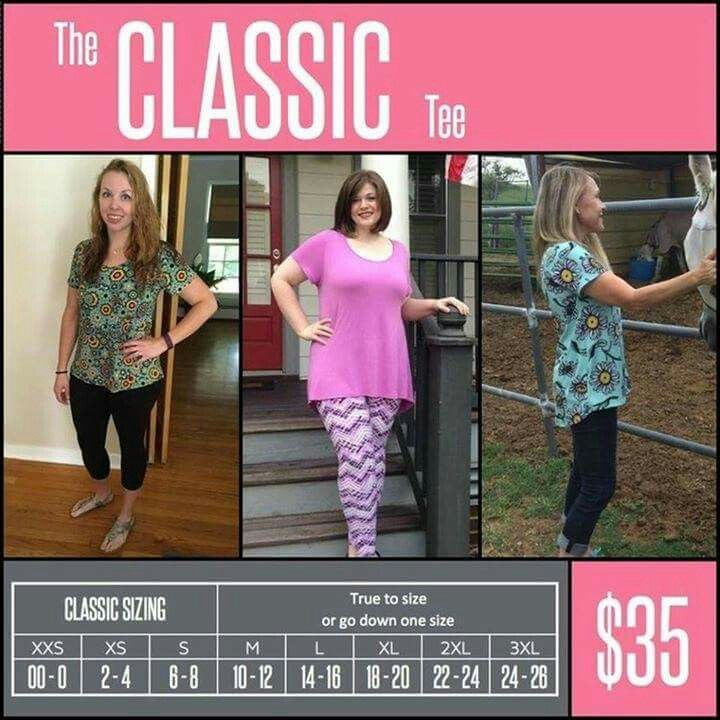 Lularoe Classic tee sizes | Lularoe classic tee, Lularoe ...