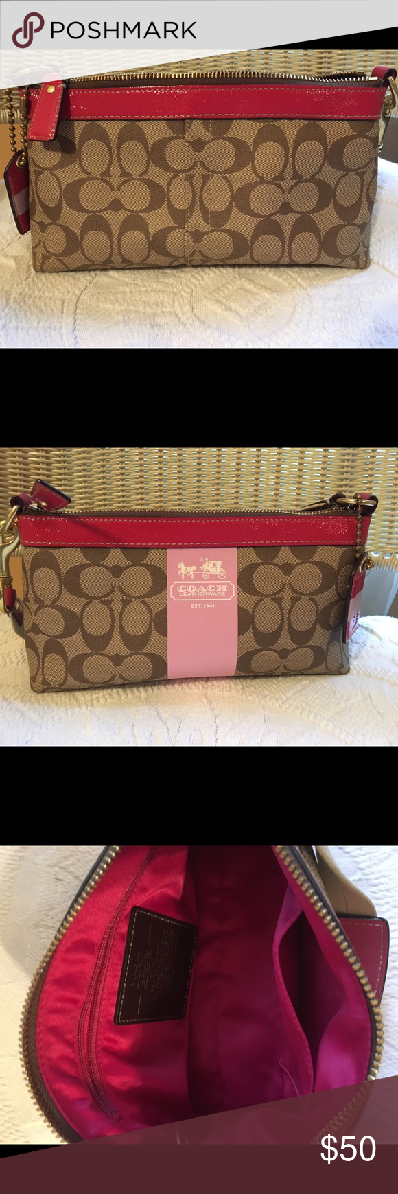 "Coach purse Classic ""C"" print leather Coach purse Coach Bags Mini Bags"