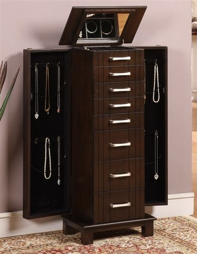 Large Modern Floor Standing Jewelry Box Cabinet with 8 Drawers and