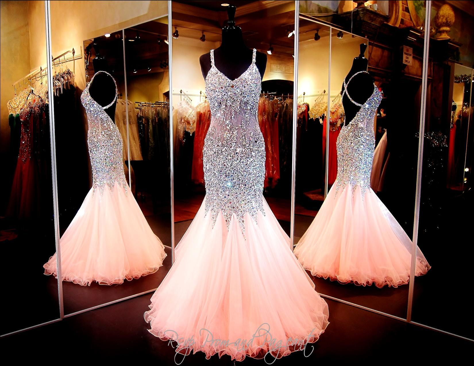 Coral Beaded Mermaid Prom Dress Open Back Only At Rsvp Prom And Pageant Atlanta Ga With Images Pink Prom Dresses Sparkly Prom Dresses Evening Dresses Prom