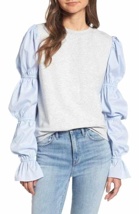 4cc0322ff Treasure & Bond x Something Navy Poplin Sleeve Sweatshirt   {fashion ...