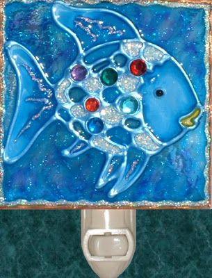 Handmade Rainbow Jewels Fish Nightlight Stained Glass Beach And