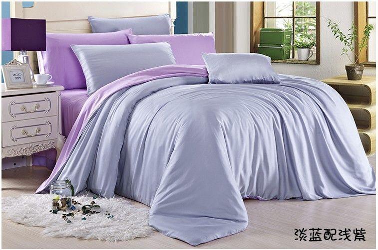 Solid Light Blue Purple Bedding Set Queen King Size Silk Quilt